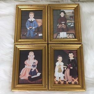 Vintage Set of 4  Folk Art/ Primitive Prints